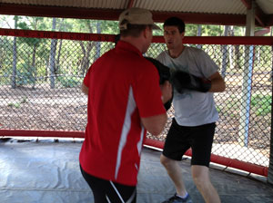 Mick Richards takes Trent on a pads workout