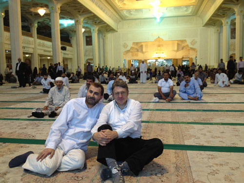 at the Jamkaran Mosque in Qom with Mansour