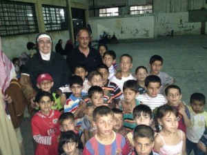 Mother Agnes with children in Damascus