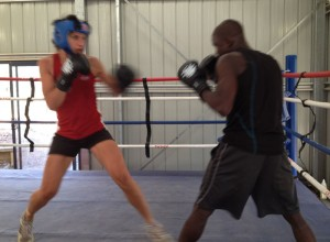 German women's welterweight champion (Nadine) spars with Dulwich Hill's own Sol Egberime at our last Boot Camp