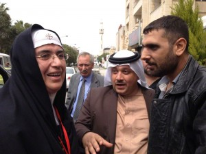 Mother Agnes with Sheikh Tahhan and a former FSA fighter