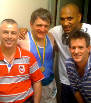 Bob St Clair, me, Solomon Haumono and Ed Gordon - my corner team at the ABL National Titles 2011