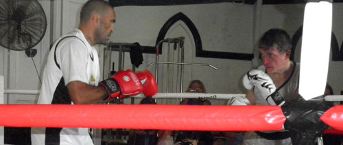 Anthony 'the Man' Mundine, sparring with me at our box-a-thon, April 1st, 2012